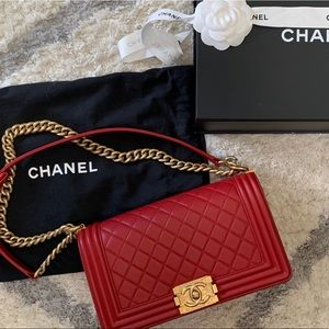 Chanel Red Old Boy Quilted Medium Flap 17A Caviar